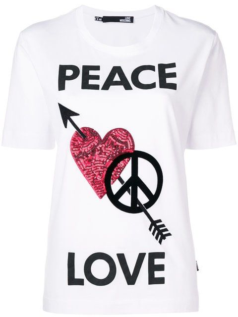 Love Moschino Peace Love T Shirt With Images Love T Shirt Shirt Price Shirts