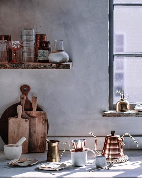 See more of this kitchen! Kitchen decor and inspiring modern farmhouse kitchen design elements from Beth Kirby's kitchen designed by the Jersey Ice Cream Co. #kitchendecor #bethkirby #modernfarmhouse #farmhousekitchen #rusticdecor #venetianplaster #copper