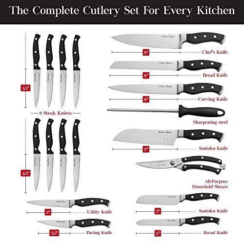 19 Piece Premium Kitchen Knife Set With Wooden Block Master