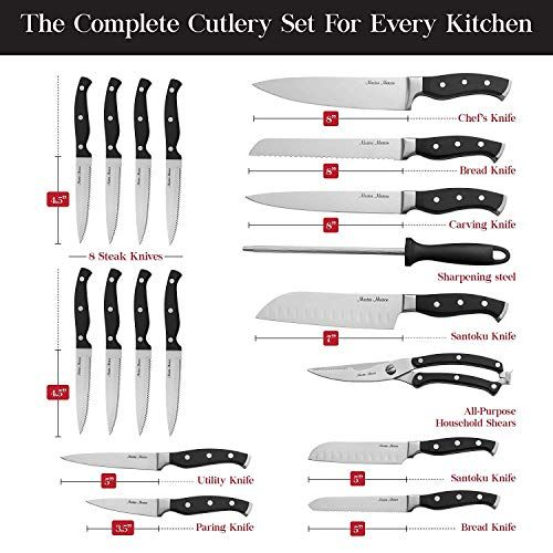 Amazon Com Knife Set 15 Piece Kitchen Knife Set With Sharpener