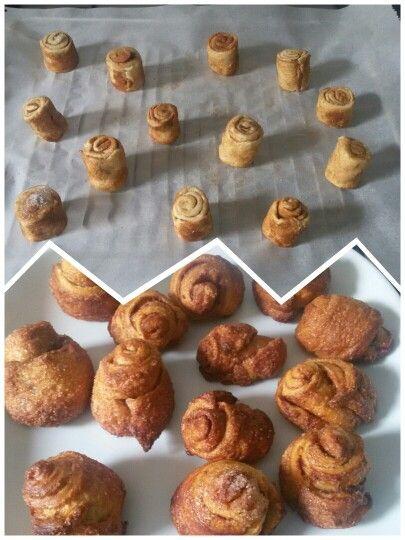Mini kaneelbroodjes. Gebruik het deeg van croissantjes. In reepjes snijden en bestrooien met kaneel en suiker. In de oven voor ongeveer 10 minuutjes en smikkelen maar!! #kaneelbroodjes #eten #food #easy