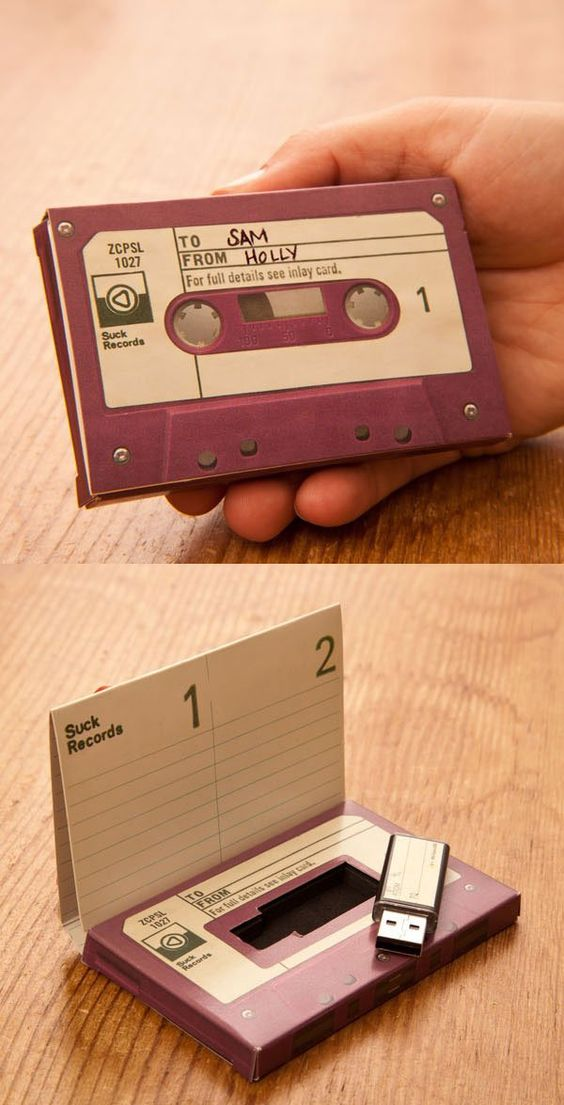 5 Wedding Splurges personalized cassette case for a USB drive
