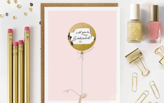 Pink Balloon Will You Be My Bridesmaid Card