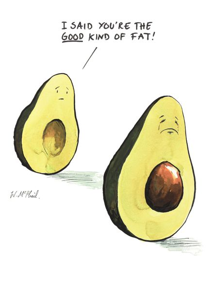 will mcphail, mcphail, cartoon, cartoonist, art, artist, private eye, private, eye, illustration, newstatesman, new statesman, paperlink, paper link, greeting, card, cards, greetings, avocado, avocados, good, kind, of, fat, fitness, eat, healthy, eating,: