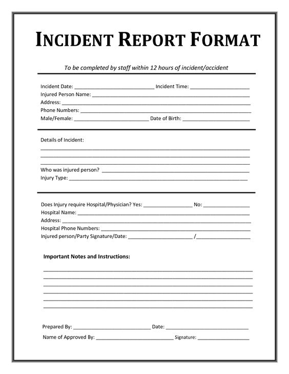 incident report form child care CHILD ACCIDENT REPORT Foster - incident report format