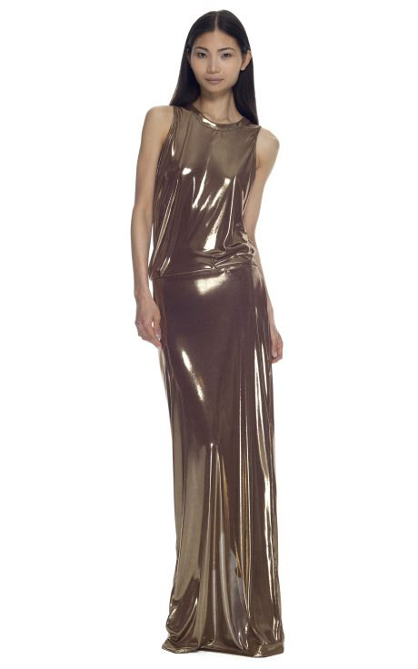 This is just breathtaking... Cédric Charlier Gold Lamè Cut Out Gown via @Moda Operandi