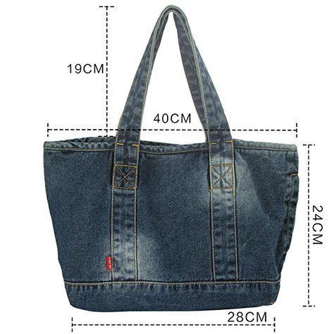 Vantoo Distressed Unisex Denim Handbag Shoulder Bag with Two Pockets for Men and Women