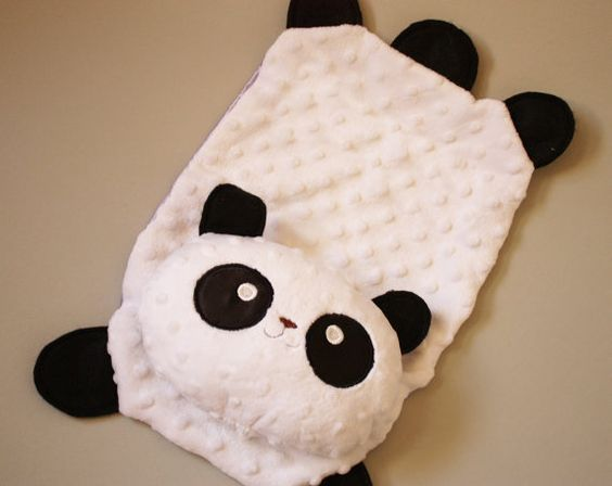 Sale  Minky Panda Bear Security Blanket Lovey by BBsForBabies, $29.99