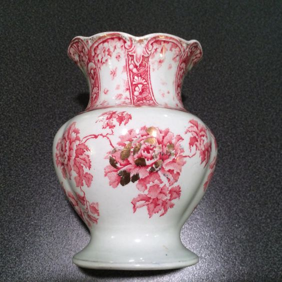 """5 1/4"""" tall by 4"""" wide scalloped transferware double spout vase. From NanasCherishedChina on Etsy"""