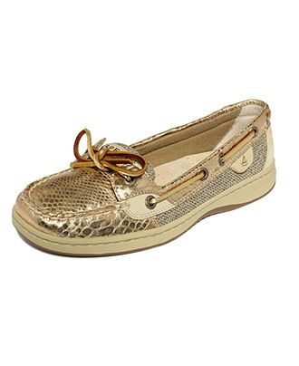 Sperry Top Sider Women's Shoes, Angelfish Boat Shoes - Gold Snake