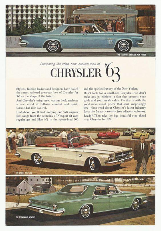1963 Chrysler New Yorker 4-Door Hardtop, 300 Convertible and Newport 4-Door Sedan
