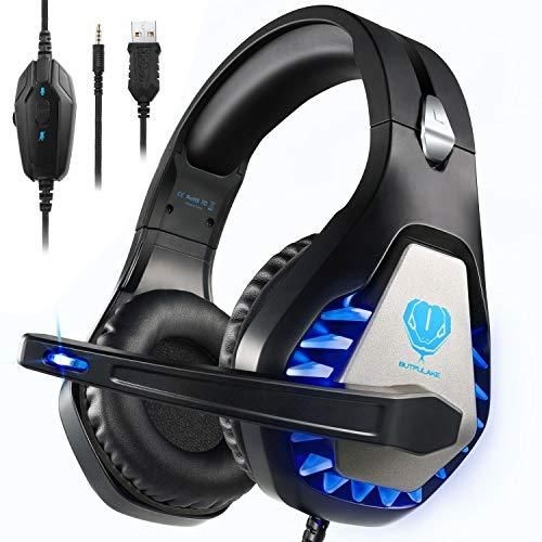 Blue Over-Ear Headphones with Mic Stereo Gamer Headphones 3.5mm Headset Gaming for PS4 Wired Noise Isolation Xbox One Gaming Headset