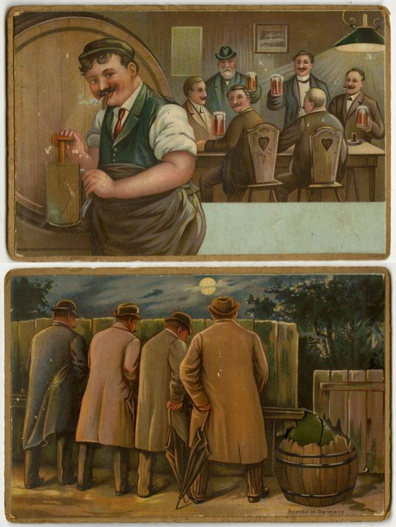 """Vintage German Postcard/Front & Back: Clear plastic beer mug fills with """"beer"""", but when you turn the card over, the trough empties out and fills the beer barrel."""