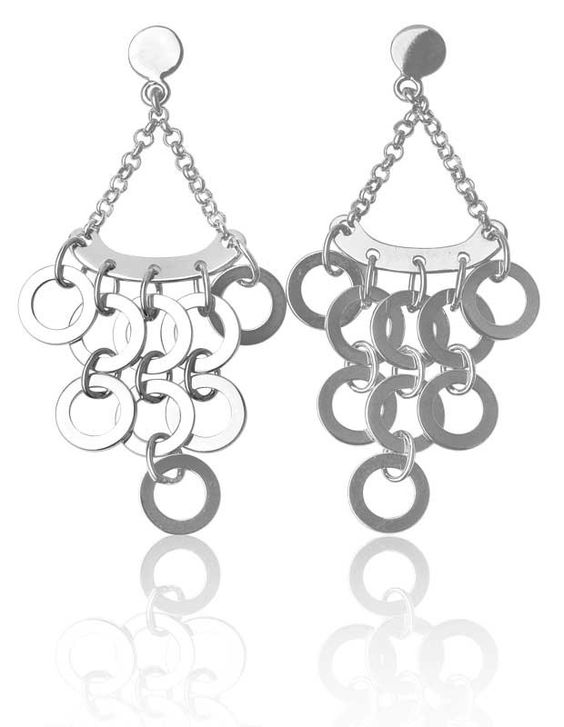 Sterling Silver High-Polish Open Circle Cosmopolitan Chandelier Earrings