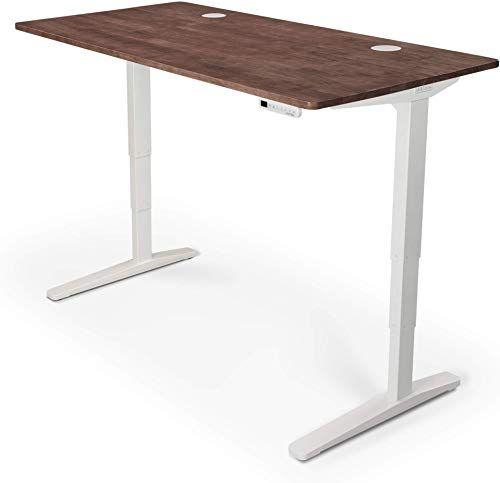 Best Seller Uplift Desk V2 Dark Brown Rubberwood Solid Wood Desktop Standing Desk Height Adjustable Frame White Advanced Memory Keypad Wire Grommets Wh In 2020 Desktop Standing Desk Bedroom