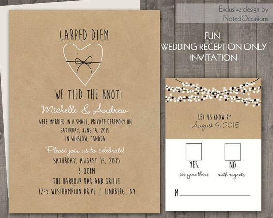 Reception Only Wedding Invitations: Wedding Reception Only Invitations On Kraft Paper Rustic