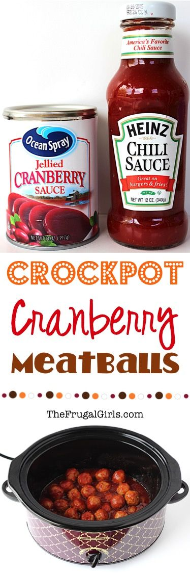 Easy Crockpot Cranberry Meatballs Recipe! ~ from TheFrugalGirls.com ~ wow your holiday guests with these crazy delicious, sweet and tangy Crock Pot Meatballs! Just 3 ingredients and always the STAR of the party!!