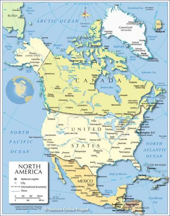 Political Map of North America 1200 px Nations Online Project – North America Travel Map