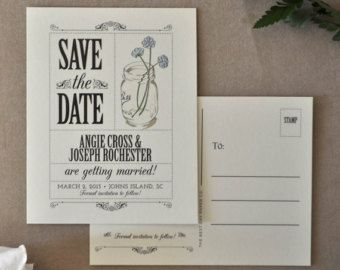 Save the Date Postcard - Country Mason Jar, Save the Date, Vintage Wedding