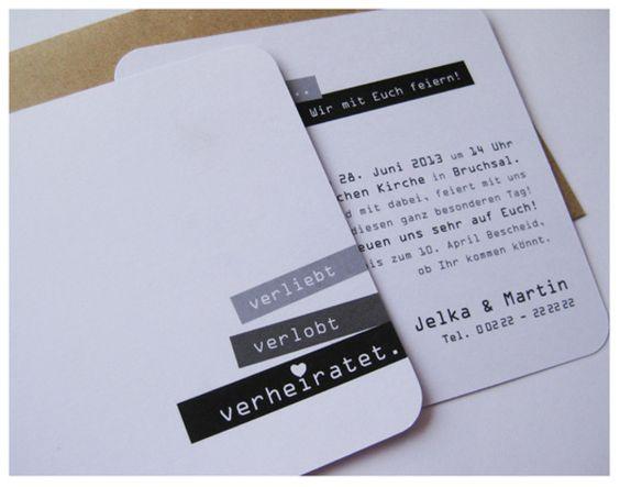 Einladungskarten - ♥ verliebt verlobt verheiratet ♥ Einladungskarte - ein Designerstück von ene-mene-mu bei DaWanda