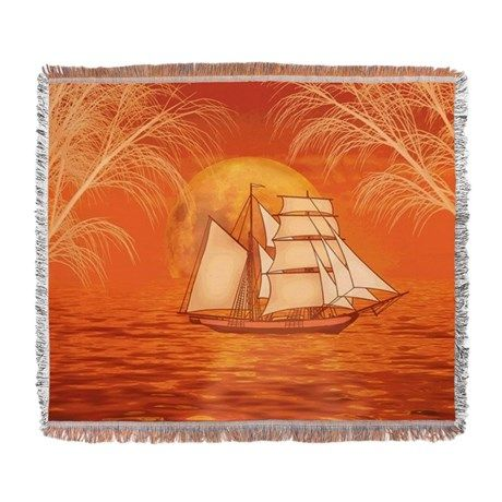 Clipper Ship Sunset Woven #Blanket Beautiful orange #sunset ocean with #Clipper ship #Sailboat #sailing graphic art by TheTshirtPainter. Available on a lot of products.  For all products with this design click here - http://www.cafepress.com/dd/104599949