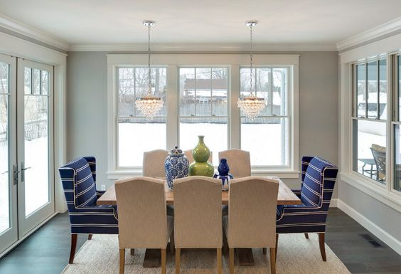 Benjamin Moore 1472 Silver Chain. The kitchen opens to a dining room painted in Benjamin Moore 1472 Silver Chain. #BenjaminMoore1472SilverChain Grace Hill Design