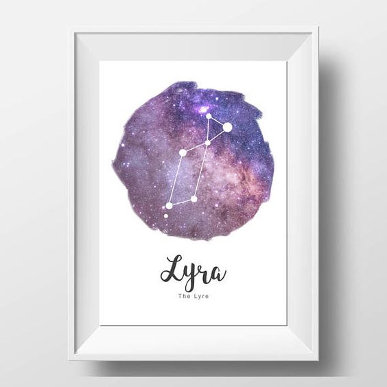 Lyra Constellation Print Galaxy Decor Constellation Art