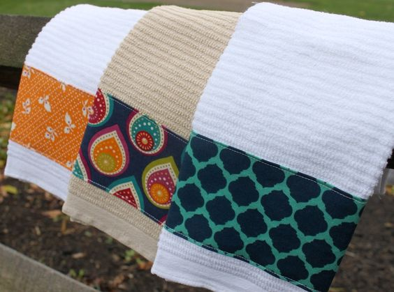 Kitchen Towels-Set of 3 towels with navy blue, teal, orange and pink accents/Wedding Gift/Christmas Gift. $15.00, via Etsy. ... Love the middle pattern