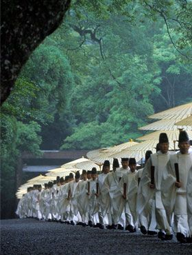 The priests of Ise Shrine, Japan: Among thou­sands of Shinto Shrines in Japan, Ise Shrine, located at Ise city in Mie pre­fec­ture, is treated as the most sacred place from time immemo­r­ial. It is ded­i­cated to the god­dess of sun, also of the uni­verse – Amaterasu-omikami. She is the major deity of the Shinto reli­gion.