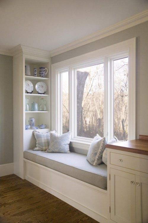 window seat with shelves - need spaces for plants as well.  Like these shelves.