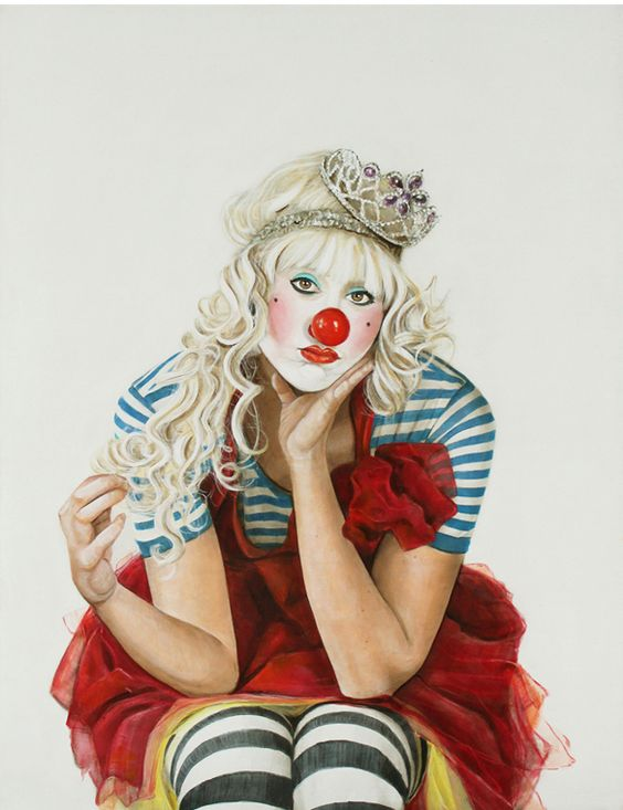 new work by holly farrell - clown paintings!