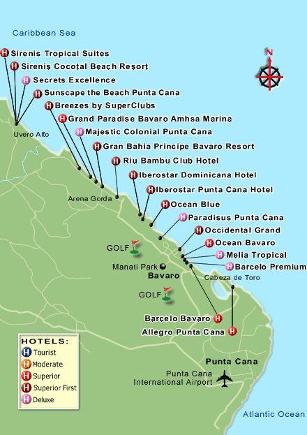 Mapa de Republica Dominicana, Mapa de Punta Cana y otras cuidades.