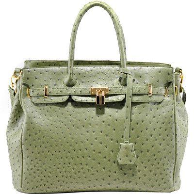 GORGEOUS Green OSTRICH SATCHEL Handbag Purse w/Gold Lock & Accents ...