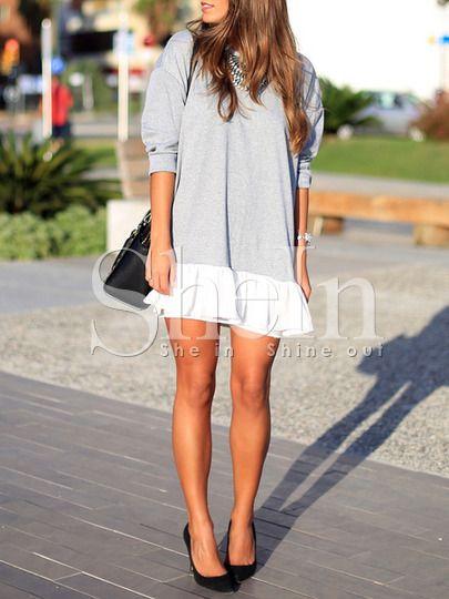 Grey White Color Block Dress -SheIn(Sheinside) Mobile Site
