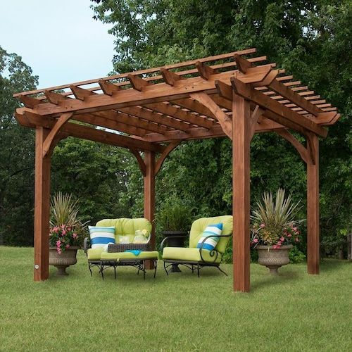 Backyard Discovery 10 X 12 Pergola 120 In W X 144 In L X 95 In H Brown Freestanding Pergola At Lowes Com Pergola Patio Outdoor Pergola Wood Pergola