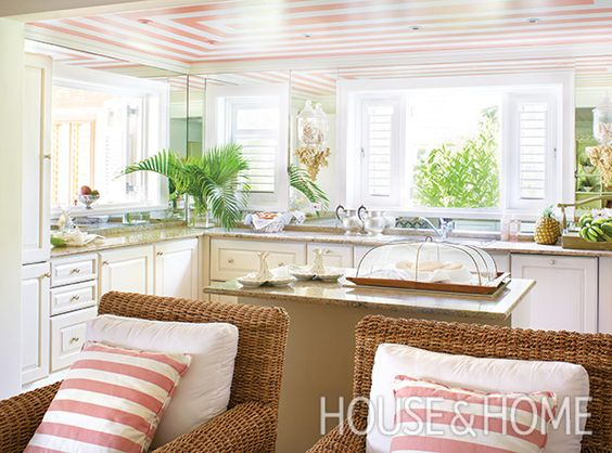 """Colette painted a pink and white """"tented"""" ceiling in the kitchen. 