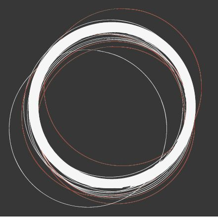 Fabric rings/circles threaded together  #circle #circles #thread #black #white #red