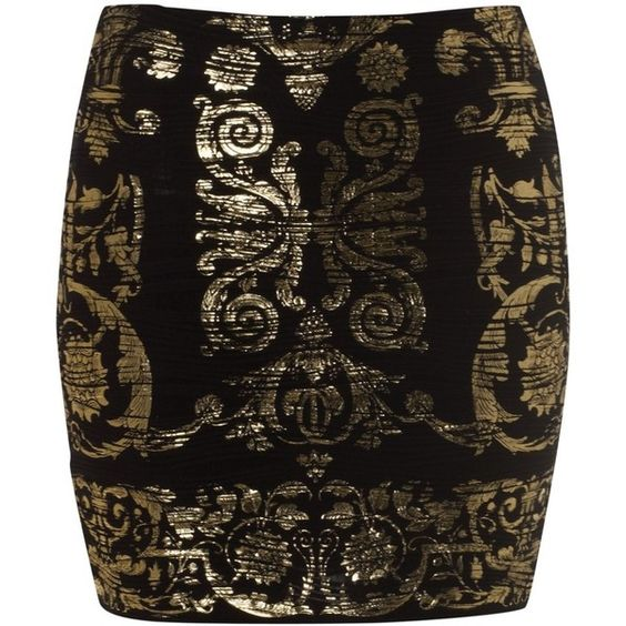 Lipsy Baroque Ripple Skirt ❤ liked on Polyvore