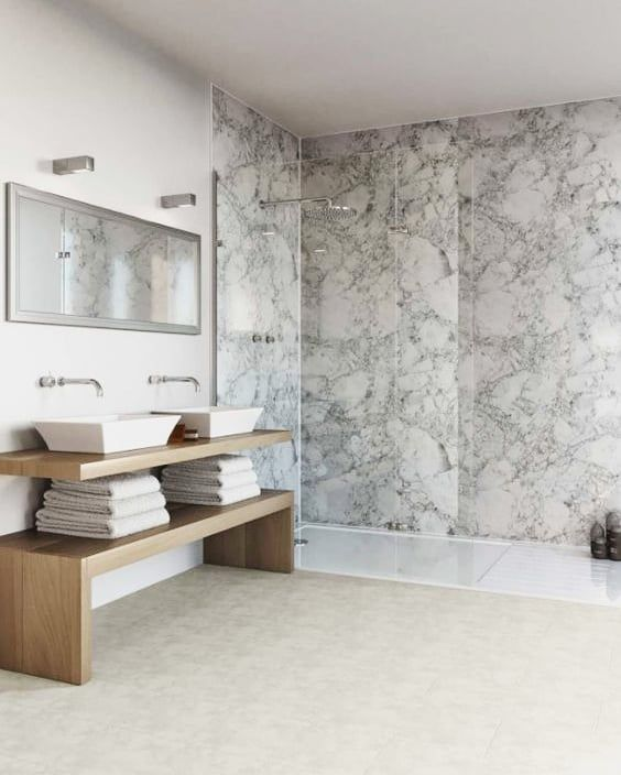 Love The Look Of Marble But Cringe At The Cost Why Not Try Marble Effect Wall Panels White Wood Paneling Bathroom Wall Panels Bathroom Wall
