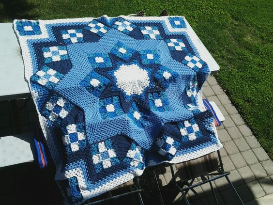 "This pattern ""Blue Star Afghan"" is from Herrschner's Award Winning Afghans book"