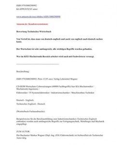 Technisches Woerterbuch: fuer 10,36 € Sonderangebot (auch mit Begriffen aus der kfz-Mechatronik / Automobiltechnik; drastisch reduziert; Rezension Bewertung Beurteilung)