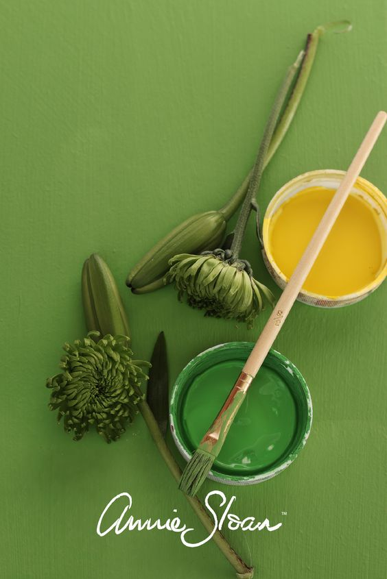 Lovely, fun green paint colour mix using equal parts of English Yellow and Antibes Green from Annie Sloan