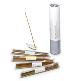 Made in Japan using century-old incense making techniques! Set includes 60 sticks, 15 of each Natural Rituals fragrance: Calm, Refresh, Meditate, Energize. Each stick lasts approximately 25 minutes. With leaf-shaped porcelain incense holder and giftable box. Was $30, Now $11!
