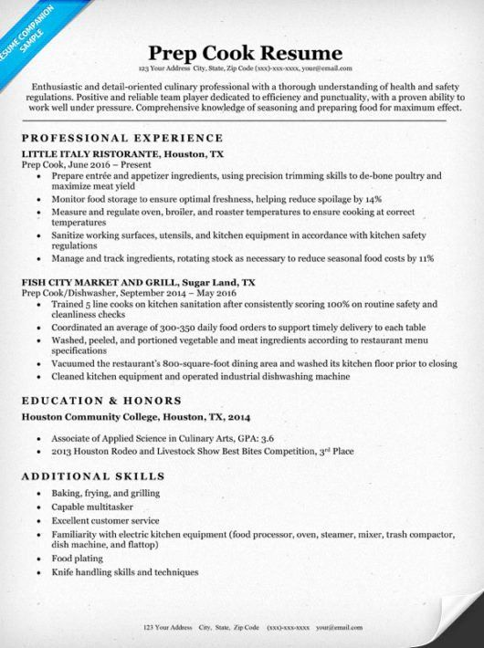 Line Cook Resume Example Fresh Prep Cook Resume Sample Writing Tips In 2020 Resume Examples Job Resume Examples Good Resume Examples