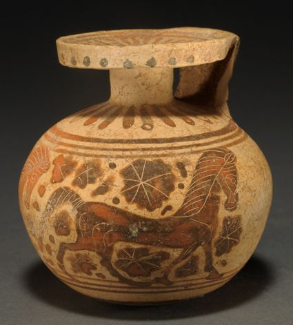 CORINTHIAN POTTERY ARYBALLOS  Two prancing horses, rosettes in the field.  Ca. 575 BC