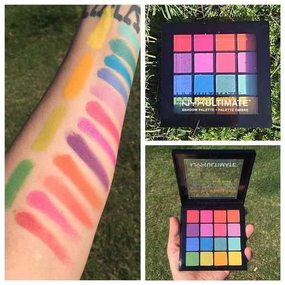 I love my new NYX Ultimate Brights Palette! The colors are so bright, creamy, and pigmented for such shades. I swatched these with no primer in natural sunlight. #nyx #nyxultimate #nyxultimateshadowpalette #nyxbrights #nyxpalette #nyxultimatebrights #makeup #swatch #beautyonabudget #eyeshadow: