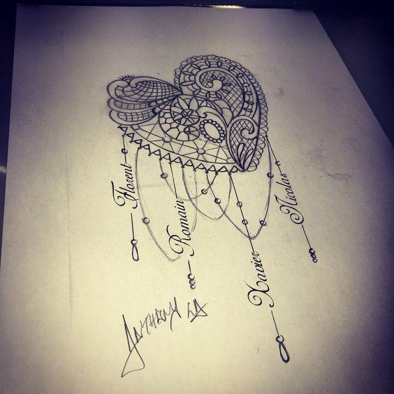 Draw mandala tattoo tatouagemandala coeur tatouage - Mandala amour ...