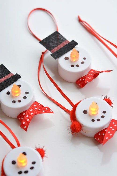 Tea Light Snowman Ornaments from One Little Project
