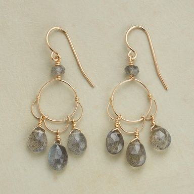 LABRADORITE PETALS EARRINGS--Thoi Vo twists 14kt goldfill wire into petal shapes that sprout labradorite briolettes. A rondelle twinkles at the French wires. Handcrafted in USA. 1-5/8L.