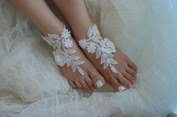 barefoot sandals bridal anklet Beach wedding par UnionTouch sur Etsy